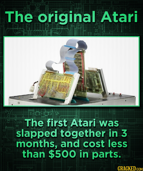 The original Atari The first Atari was slapped together in 3 months, and cost less than $500 in parts.