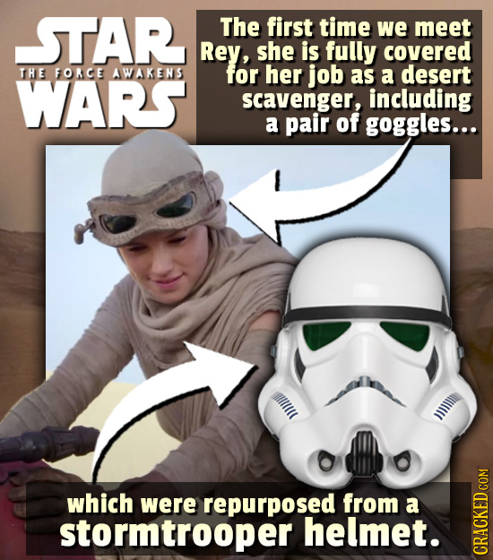 STAR The first time we meet Rey, she is fully covered THE FORCE AWAKENS for her job WARS as a desert scavenger, including a pair of goggles... which w
