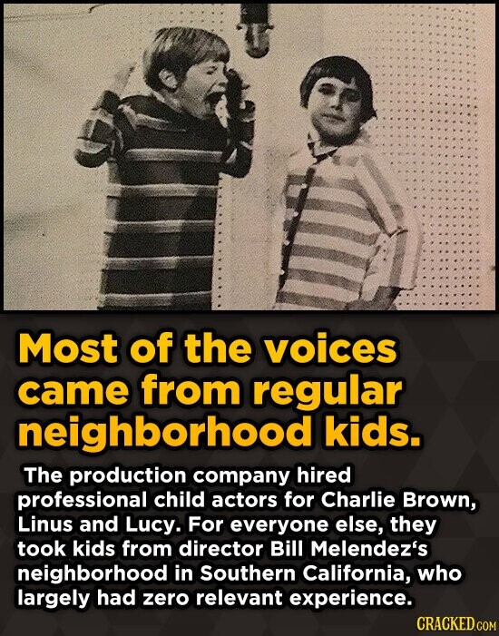 Most of the voices came from regular neighborhood l kids. The production company hired professional child actors for Charlie Brown, Linus and Lucy. Fo