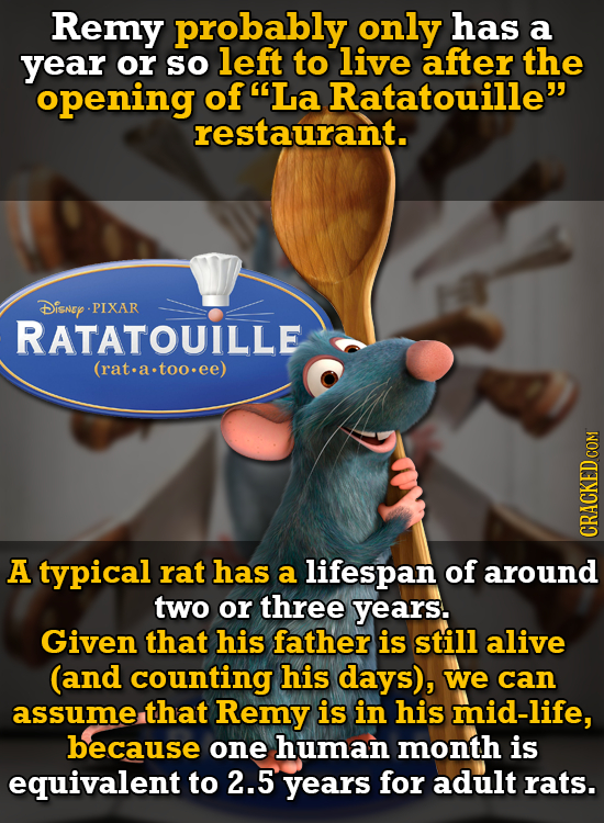 Remy probably only has a year or so left to live after the opening of La Ratatouille restaurant. Disnep PIXAR RATATOUILLE (rat.a.too.ee) CRACKEDCON