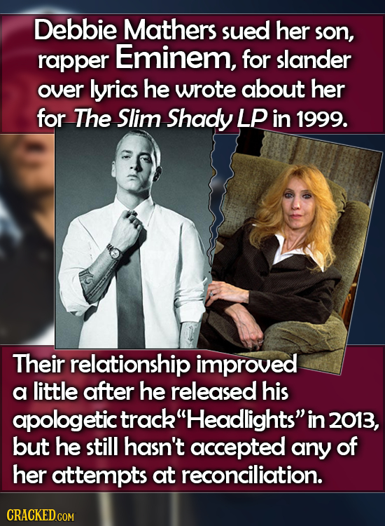Debbie Mathers sued her son, rapper Eminem, for slander over lyrics he wrote about her for The Slim Shady LP in 1999. Their relationship improved a li