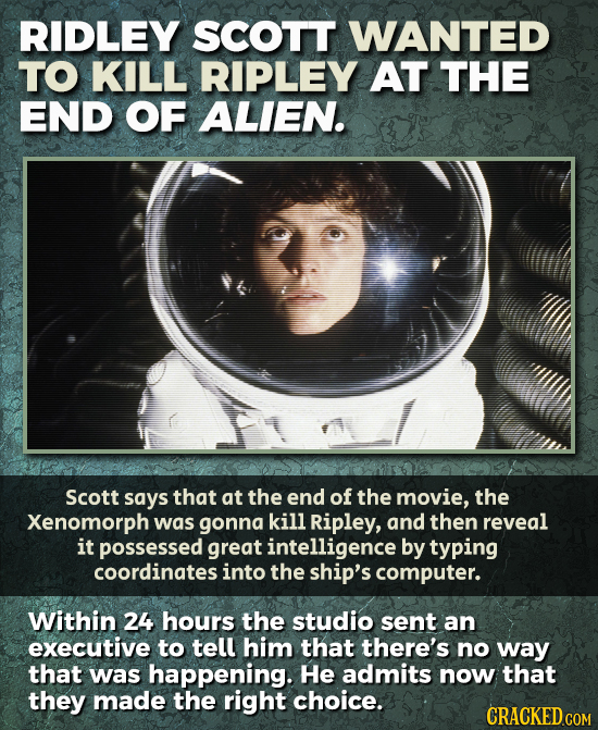 RIDLEY SCOTT WANTED TO KILL RIPLEY AT THE END OF ALIEN. Scott says that at the end of the movie, the Xenomorph was gonna kill Ripley, and then reveal