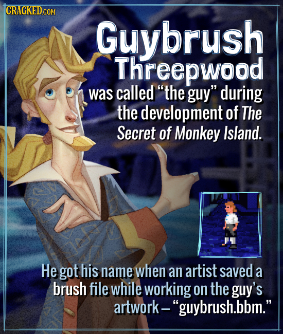 CRACKED C COM Guybrush Threepwood was called the guy during the development of The Secret of Monkey Island. He got his name when an artist saved a b