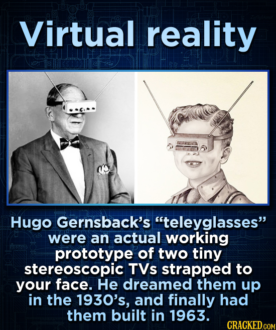 Virtual reality Hugo Gernsback's teleyglasses were an actual working prototype of two tiny stereoscopic TVs strapped to your face. He dreamed them u
