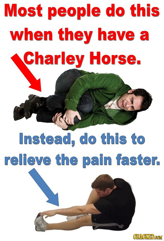Most people do this when they have a Charley Horse. Instead, do this to relieve the pain faster. GRAGKEDCON