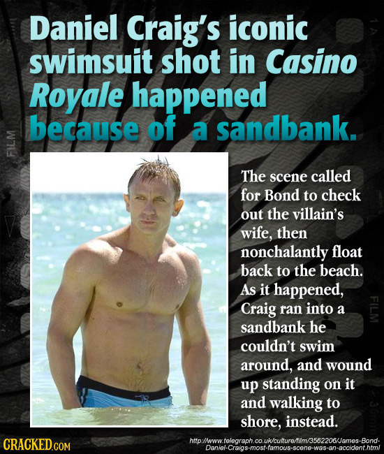 Daniel Craig's iconic swimsuit shot in Casino Royale happened because of a sandbank. FIL The scene called for Bond to check out the villain's wife, th