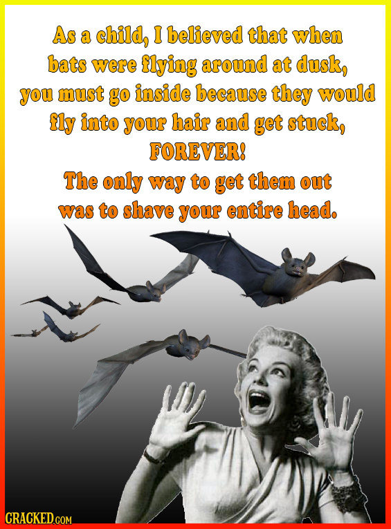 As a child, I believed that when bats were flying around at dusk, you must go inside because they would fly into your hair and get stuck, FOREVER! The