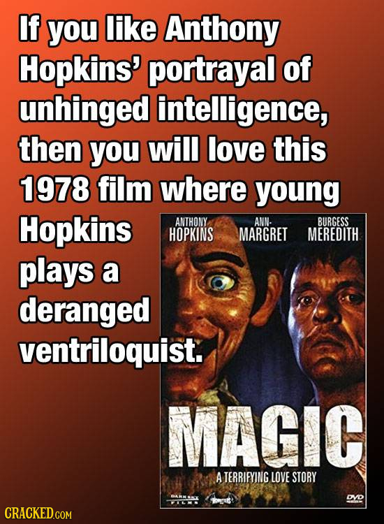 If you like Anthony Hopkins' portrayal of unhinged intelligence, then you will love this 1978 film where young Hopkins ANTHONY ANN. BURGESS HOPKINS MA