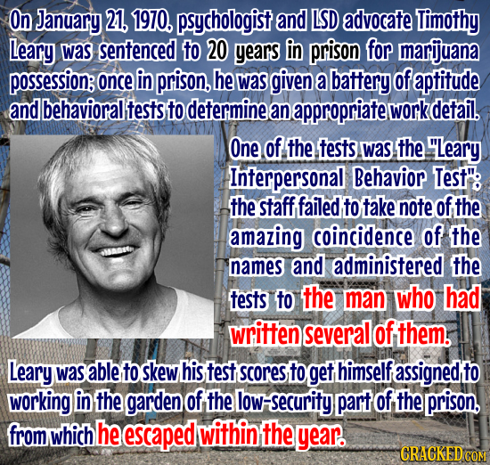 On January 21, 1970, psychologist and LSD advocate Timothy Leary was sentenced to 20 years in prison for marijuana possession: once in prison, he was
