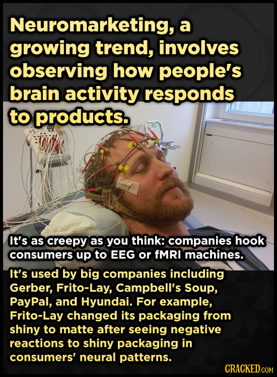 Neuromarketing, a growing trend, involves observing how people's brain activity responds to products. It's as creepy as you think: companies hook cons