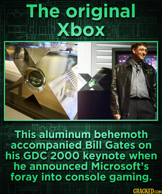 The original Xbox XBox This aluminum behemoth accompanied Bill Gates on his GDC 2000 keynote when he announced Microsoft's foray into console gaming.
