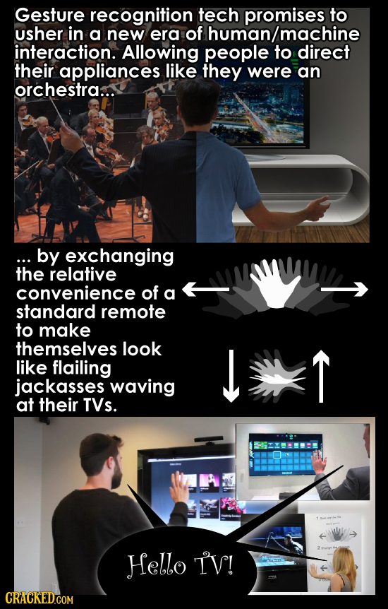 Gesture recognition tech promises to usher in a new era of human/machine interaction. Allowing people to direct their appliances like they were an orc