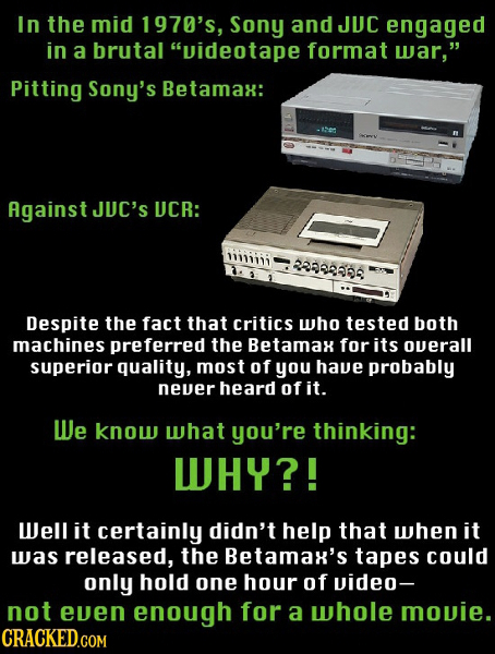 In the mid 1970's, Sony and JUC engaged in a brutal videotape format war, Pitting Sony's Betamax: Against JUC'S UCR: iiiiii 29888668 Despite the fac