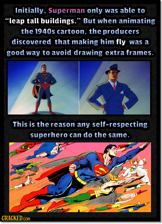 Initially, Superman only was able to leap tall buildings. But when animating the 1940s cartoon, the producers discovered that making him fly was a g