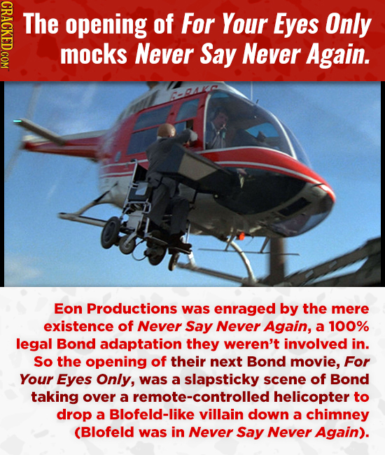 CRACKED.COM The opening of For Your Eyes Only mocks Never Say Never Again. Eon Productions was enraged by the mere existence of Never Say Never Again,