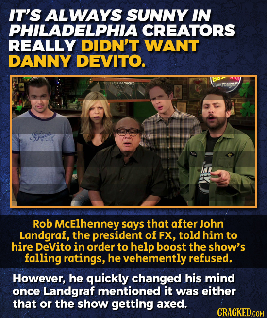 IT'S ALWAYS SUNNY IN PHILADELPHIA CREATORS REALLY DIDN'T WANT DANNY DEVITO. e Rob McElhenney says that after John Landgraf, the president of FX, told