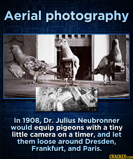 Aerial photography In 1908, Dr. Julius Neubronner would equip pigeons with a tiny little camera on a timer, and let them loose around Dresden, Frankfu
