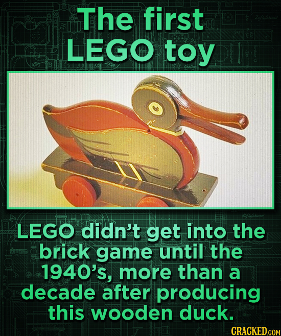The first LEGO toy LEGO didn't get into the brick game until the 1940's, more than a decade after producing this wooden duck.