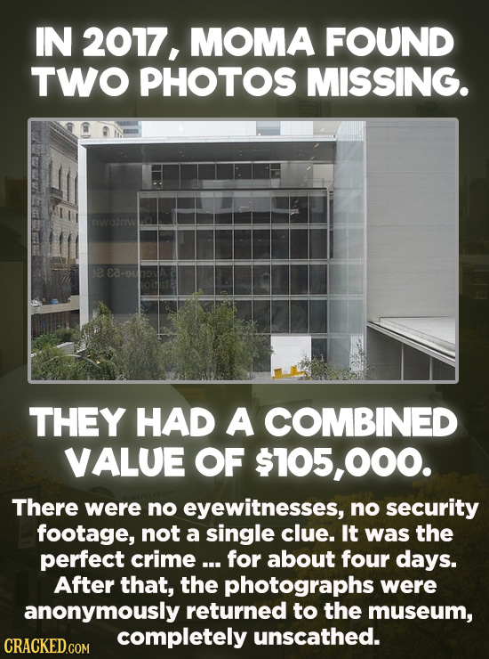20 Bizarre Crimes You Won't Believe Actually Happened - In 2017, the Museum of Modern Art found that someone had stolen two photographs with an estima