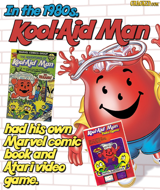 the 7980s CRACKEDOO In KoHAdMan MARVEL comicS GROUP THE ADUENTURES 650 KoorAd Man OF TtRee 35 had his OW Man KoolAid Came Marvel Vidco comic bookand A