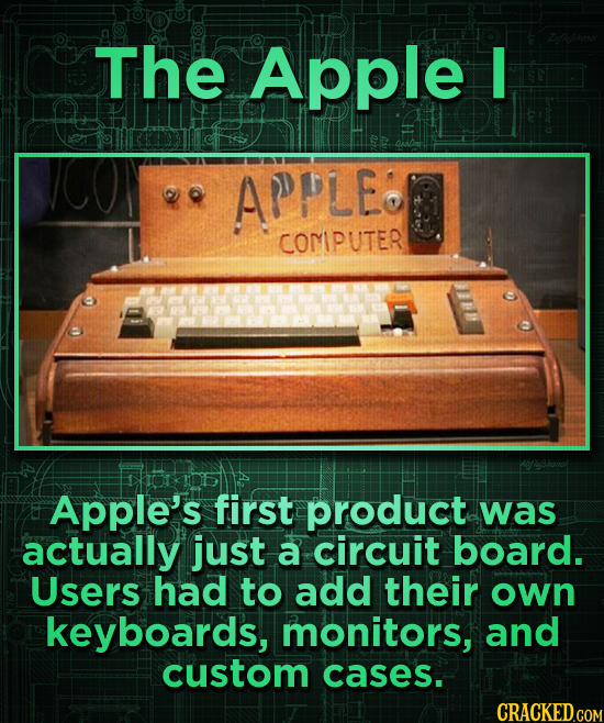The Apple APPLe COMIPUTER Apple's first product was actually just a circuit board. Users had to add their own keyboards, monitors, and custom cases.