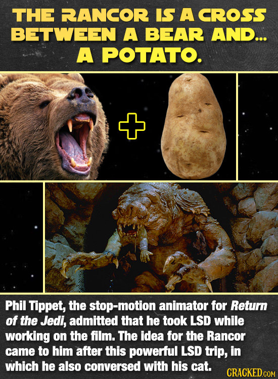 THE RANCOR IS A CROSS BETWEEN A BEAR AND... A POTATO. Phil Tippet, the stop-motion animator for Return of the Jedi, admitted that he took LSD while wo