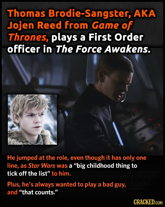 Thomas Brodie-Sangster, AKA Jojen Reed from Game of Thrones, plays a First Order officer in The Force Awakens. He jumped at the role, even though it h