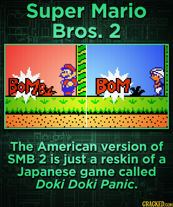 Super Mario Bros. 2 BOMB BOM The American version of SMB 2 is just a reskin of a Japanese game called Doki Doki Panic.