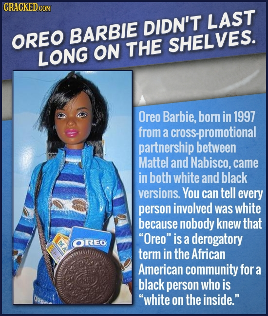 CRACKED co DIDN'T LAST BARBIE OREO THE SHELVES. LONG ON Oreo Barbie, born in 1997 from a cross- ss-promotional partnership between Mattel and Nabisco,