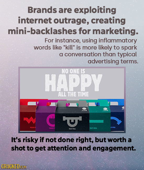 Brands are exploiting internet outrage, creating mini-backlashesf for marketing. For instance, using inflammatory words like kill is more likely to