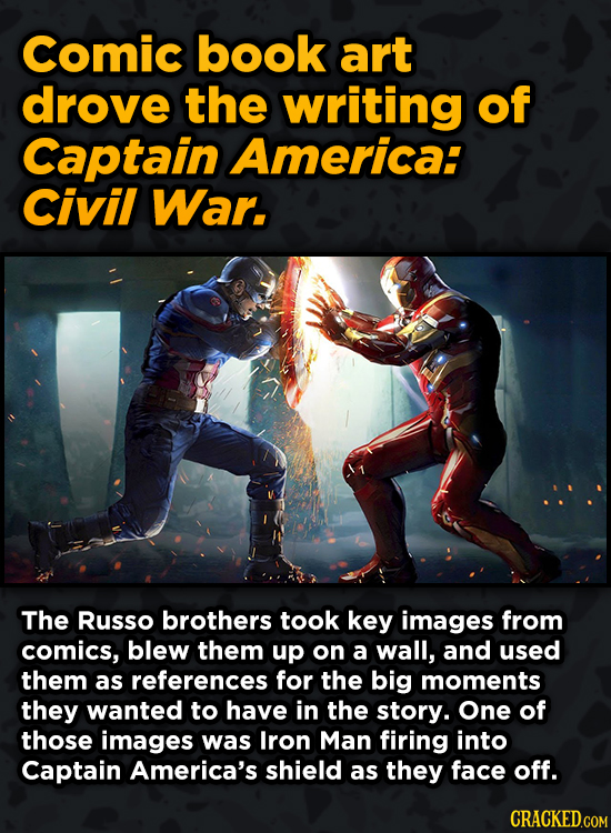 Bonkers Ways Famous Creators Made Iconic Works -Comic book art drove the writing of Captain America: Civil War.