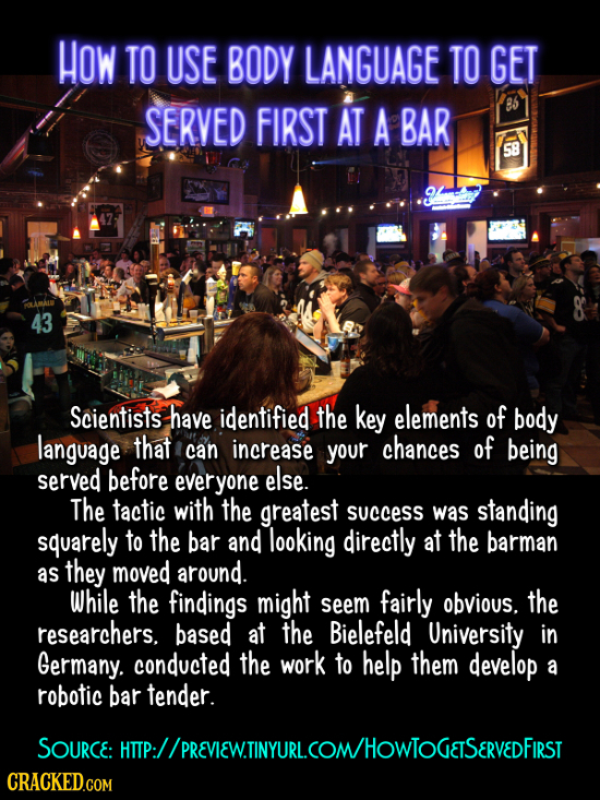 HOW TO USE BODY LANGUAGE TO GET SERVED FIRST AT A BAR 85 58 FALAMAL 43 Scientists have identified the key elements of body language that can increase