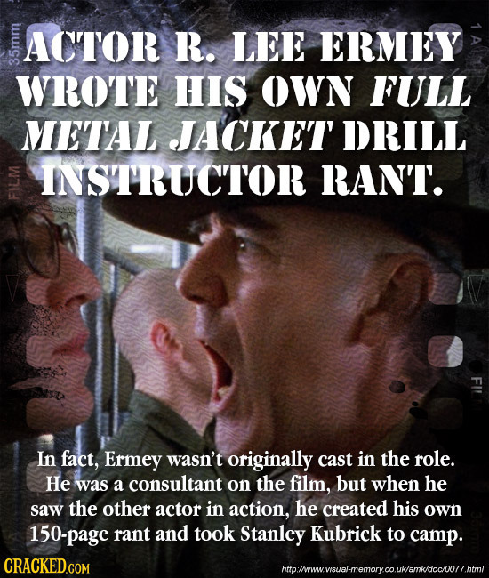 ACTOR R. LEE ERMEY 33 WROTE HIS OWN FULL METAL JACKET DRILL INSTRUCTOR RANT. FI In fact, Ermey wasn't originally cast in the role. He was a consultant