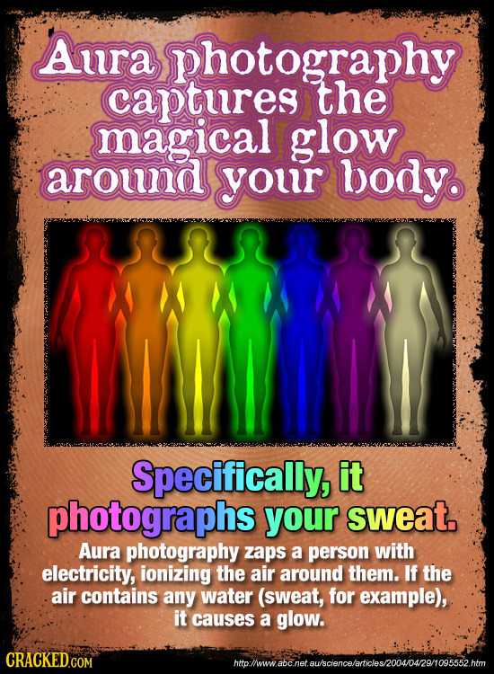 Awra photography captures the magical glow arouna your body Specifically, it photographs your sweat. Aura photography zaps a person with electricity,