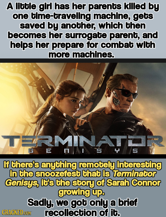 A little girl has her parents killed by one time-traveling machine, gets saved by another, which then becomes her surrogate parent, and helps her prep