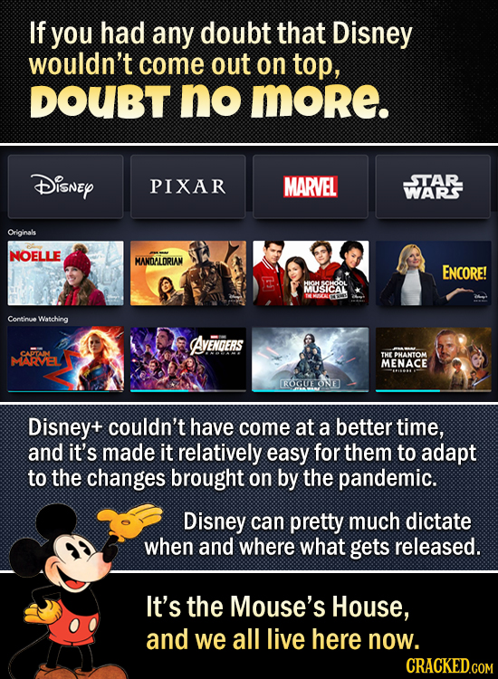 If you had any doubt that Disney wouldn't come out on top, DOUBT no MORe. Disney PIXAR MARVEL STAR WARS Originals NOELLE MANDALORIAM ENCORE! SCHOOL MU