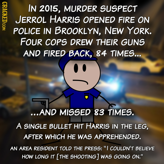 NDLO IN 2015, MURDER SUSPECT JERROL HARRIS OPENED FIRE ON POLICE IN BROOKLYN, NEW YORK. FOUR COPS DREW THEIR GUNS AND FIRED BACK, 84 TIMES... ...AND M