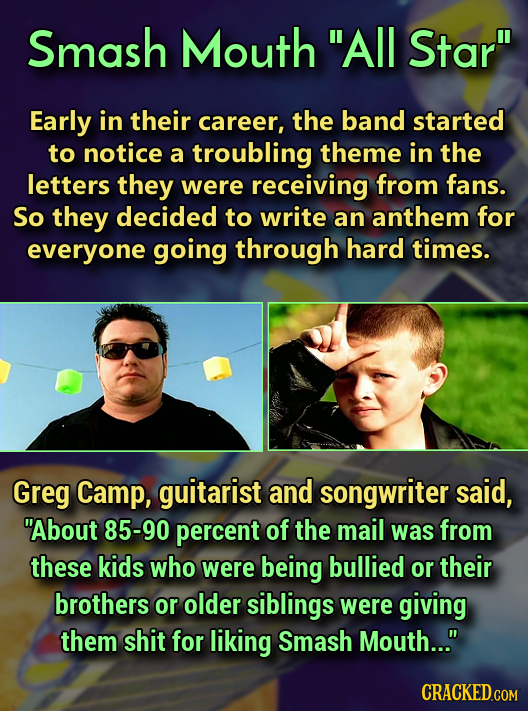 Smash Mouth All Star Early in their career, the band started to notice a troubling theme in the letters they were receiving from fans. So they decid