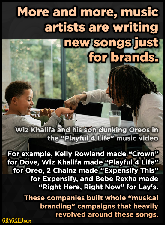 More and more, music artists are writing new songs just for brands. Wiz Khalifa and his son dunking Oreos in the Playful 4 Life music video For exam