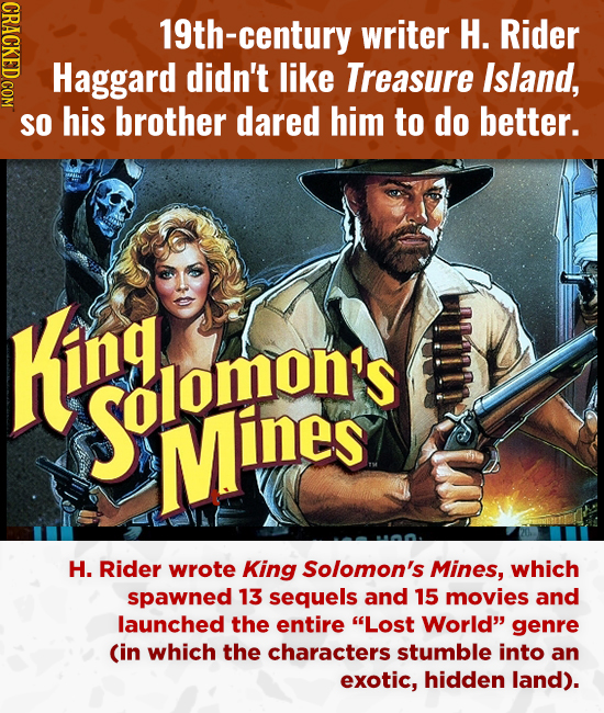 OO 19th-century writer H. Rider Haggard didn't like Treasure Island, SO his brother dared him to do better. King Solomon's Mines H. Rider wrote King S