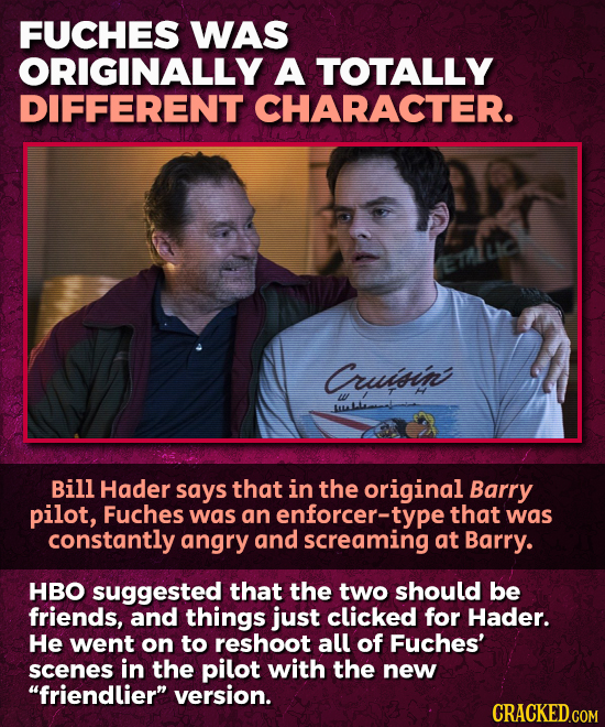 FUCHES WAS ORIGINALLY A TOTALLY DIFFERENT CHARACTER. ETlLIC Cruisin w Bill Hader says that in the original Barry pilot, Fuches was an enforcer- type t