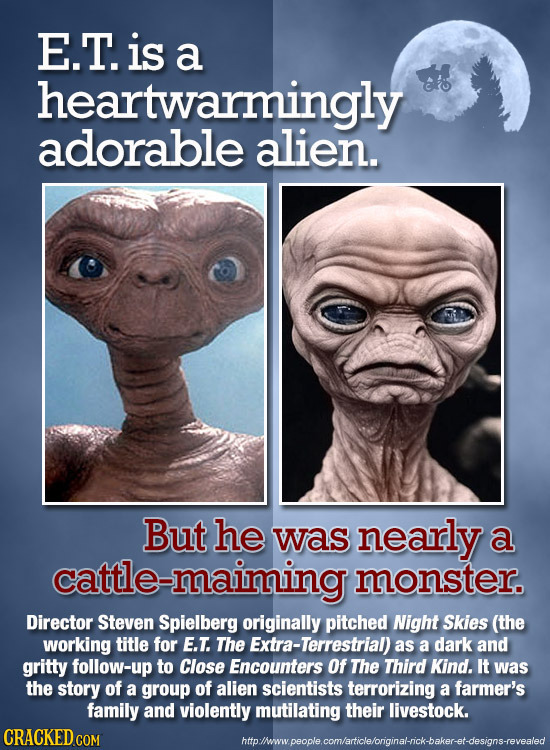 E.T. is a heartwarmingly adorable alien. But he was nearly a cattle-maiming monster. Director Steven Spielberg originally pitched Night Skies (the wor