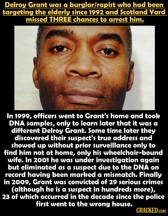 Delroy Grant was a burglarlrapist who had been targeting the elderly since 1992 and Scotland Yard missed THREE chances to arrest him. In 1999, officer