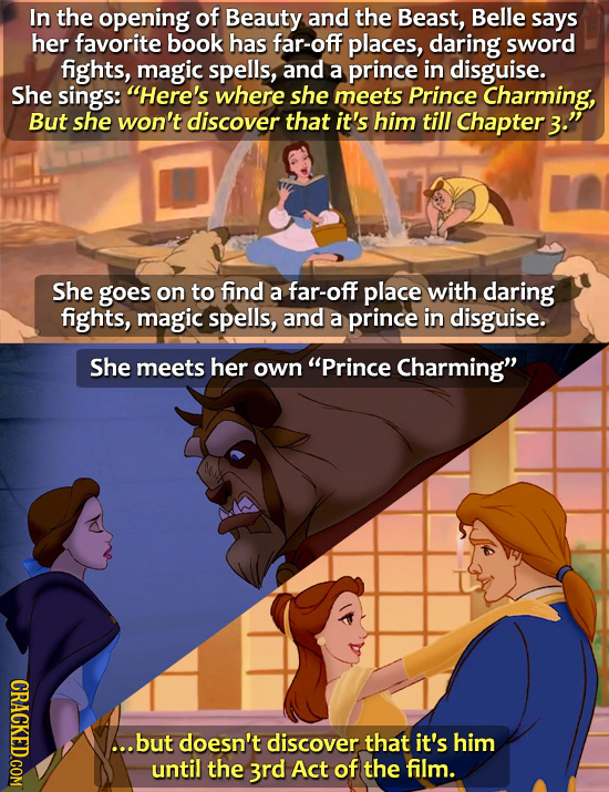In the opening of Beauty and the Beast, Belle says her favorite book has far-off places, daring sword fights, magic spells, and a prince in disguise.