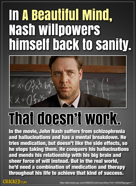 In A Beautiful Mind, Nash willpowers himself back to sanity. x+O'x kg +O33 X That doesn't work. In the movie, John Nash suffers from schizophrenia and
