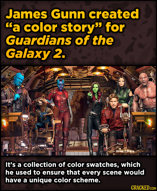 Bonkers Ways Famous Creators Made Iconic Works -James Gunn created a color story for Guardians of the Galaxy 2.