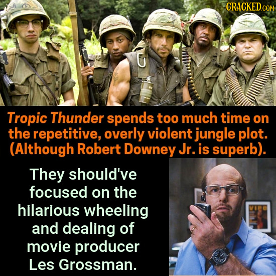 CRACKEDC Tropic Thunder spends too much time on the repetitive, overly violent jungle plot. (Although Robert Downey Jr. is superb). They should've foc