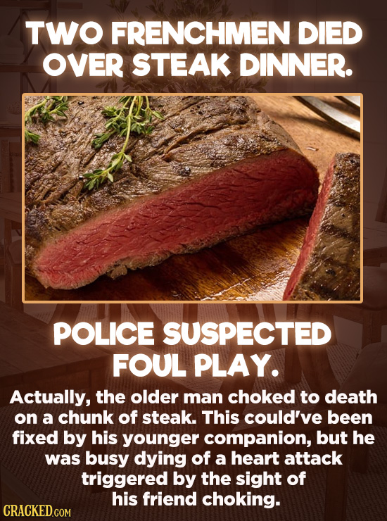20 Bizarre Crimes You Won't Believe Actually Happened - A neighbor found the bodies of two Frenchmen who seemed to have died during a lavish dinner. W