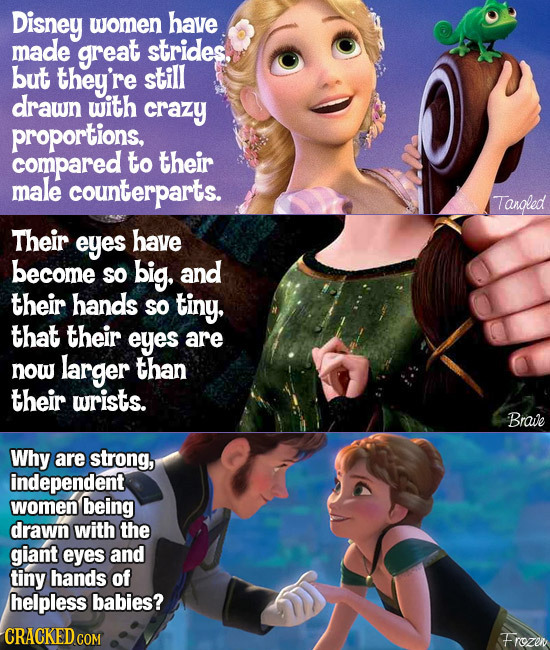 Disney women have made great strides. but they're still drawn with crazy proportions, compared to their male counterparts. Tangled Their eyes have bec