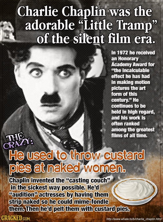 Charlie Chaplin was the adorable Little Tramp of the silent film era. In 1972 he received an Honorary Academy Award for the incalculable effect he